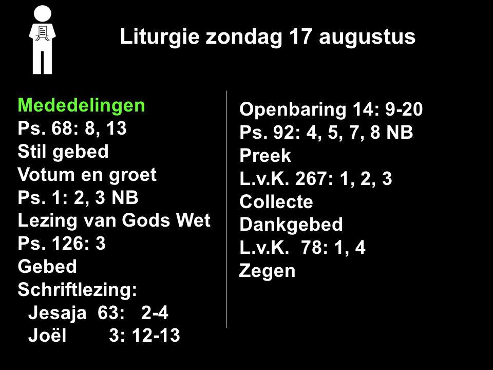 Liturgie zondag 17 augustus