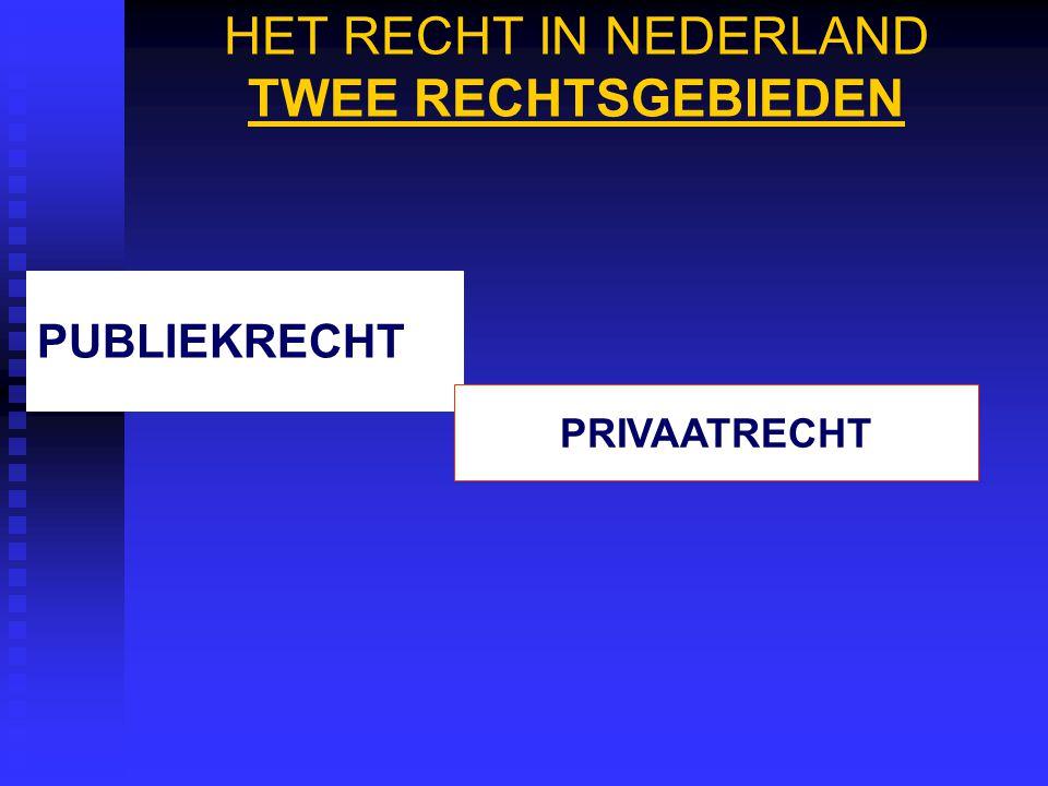 HET RECHT IN NEDERLAND TWEE RECHTSGEBIEDEN