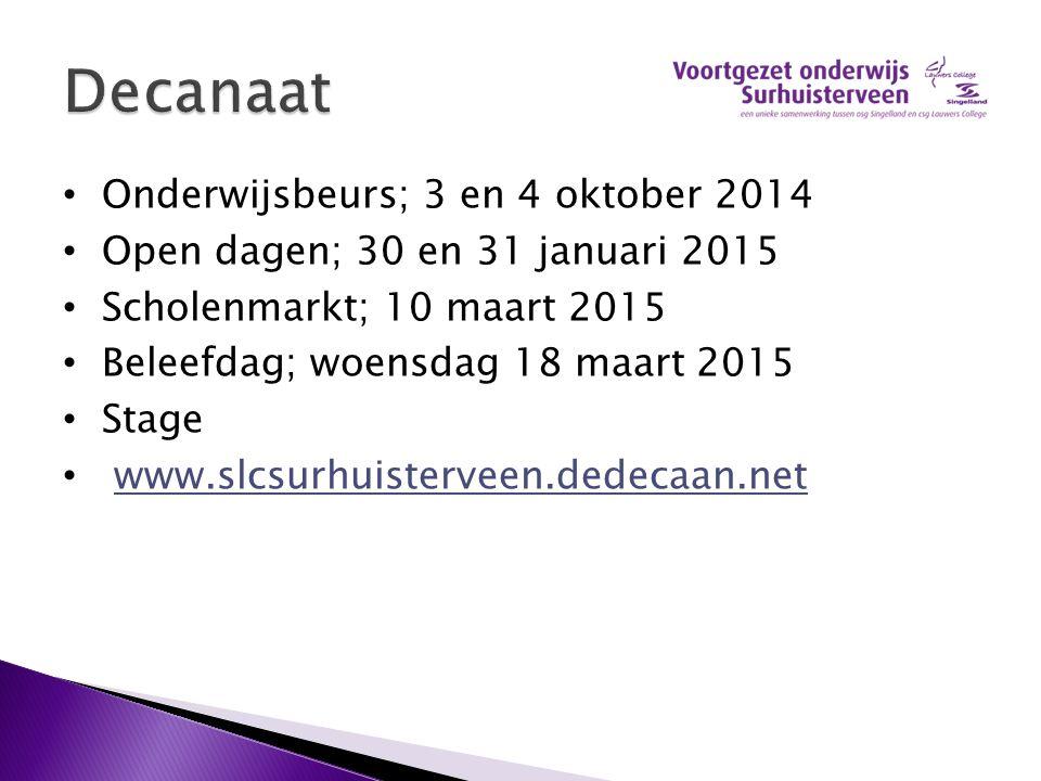 Decanaat Onderwijsbeurs; 3 en 4 oktober 2014