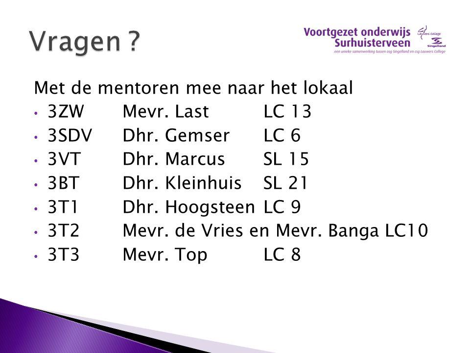Vragen Met de mentoren mee naar het lokaal 3ZW Mevr. Last LC 13