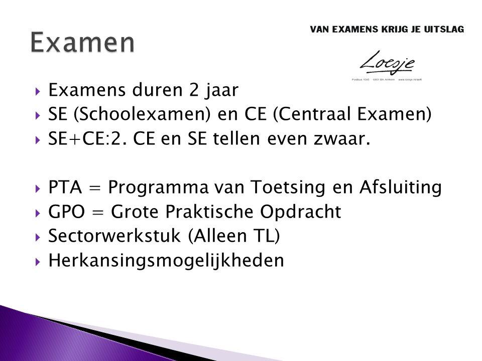 Examen Examens duren 2 jaar SE (Schoolexamen) en CE (Centraal Examen)