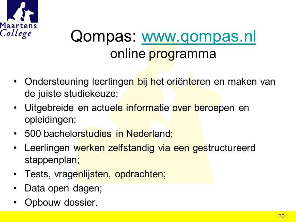 Qompas: www.qompas.nl online programma