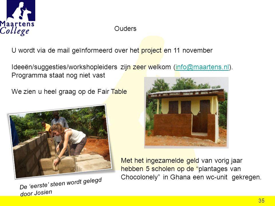 U wordt via de mail geïnformeerd over het project en 11 november