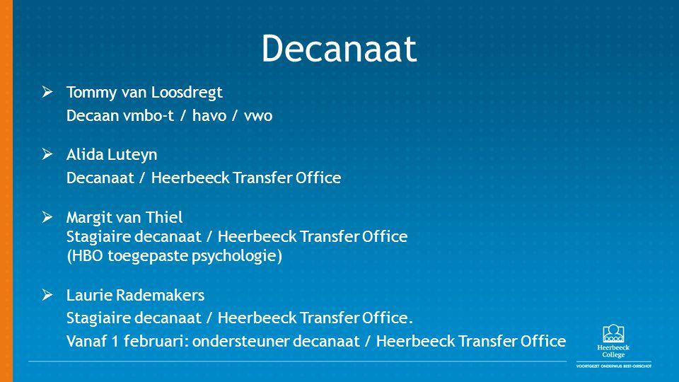Decanaat Tommy van Loosdregt Decaan vmbo-t / havo / vwo Alida Luteyn