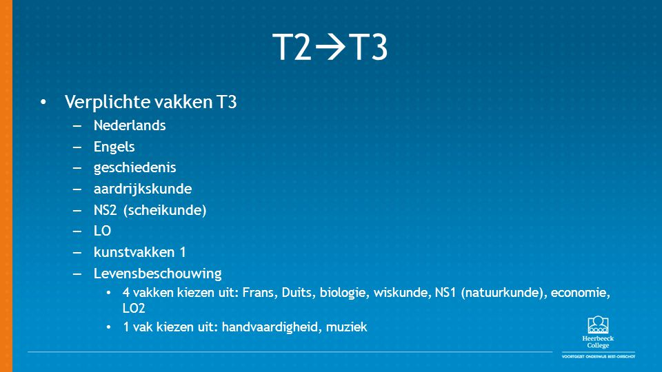 T2T3 Verplichte vakken T3 Nederlands Engels geschiedenis