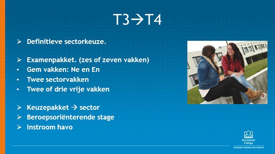 T3T4 Definitieve sectorkeuze. Examenpakket. (zes of zeven vakken)