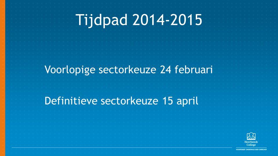 Tijdpad 2014-2015 Voorlopige sectorkeuze 24 februari