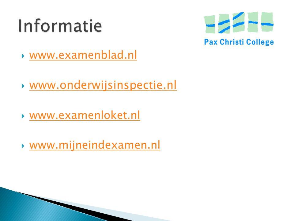 Informatie www.onderwijsinspectie.nl www.examenblad.nl