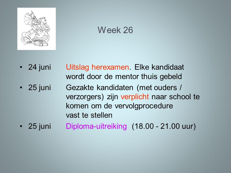 Week 26 24 juni Uitslag herexamen. Elke kandidaat wordt door de mentor thuis gebeld.