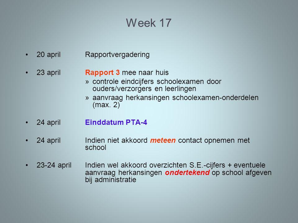 Week 17 20 april Rapportvergadering 23 april Rapport 3 mee naar huis