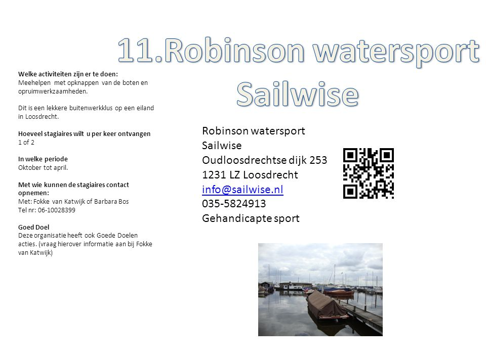11.Robinson watersport Sailwise