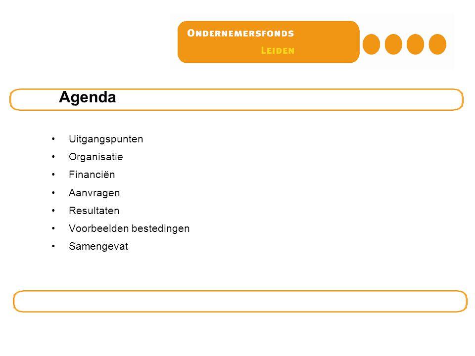 Agenda Uitgangspunten Organisatie Financiën Aanvragen Resultaten