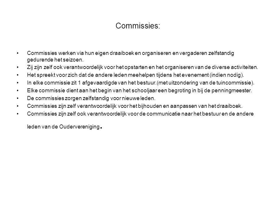 Commissies: Commissies werken via hun eigen draaiboek en organiseren en vergaderen zelfstandig gedurende het seizoen.