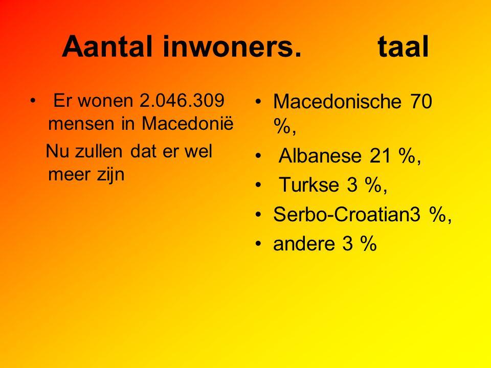 Aantal inwoners. taal Macedonische 70 %, Albanese 21 %, Turkse 3 %,
