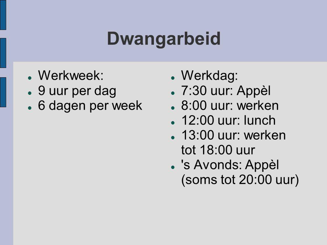 Dwangarbeid Werkweek: 9 uur per dag 6 dagen per week Werkdag: