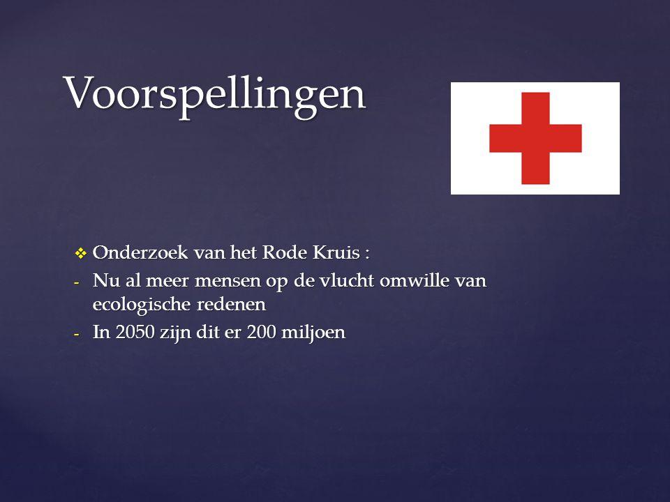 Voorspellingen Onderzoek van het Rode Kruis :