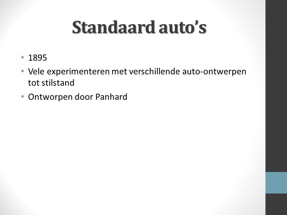 Standaard auto's 1895. Vele experimenteren met verschillende auto-ontwerpen tot stilstand.