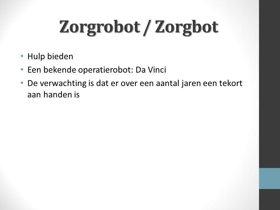 Zorgrobot / Zorgbot Hulp bieden Een bekende operatierobot: Da Vinci