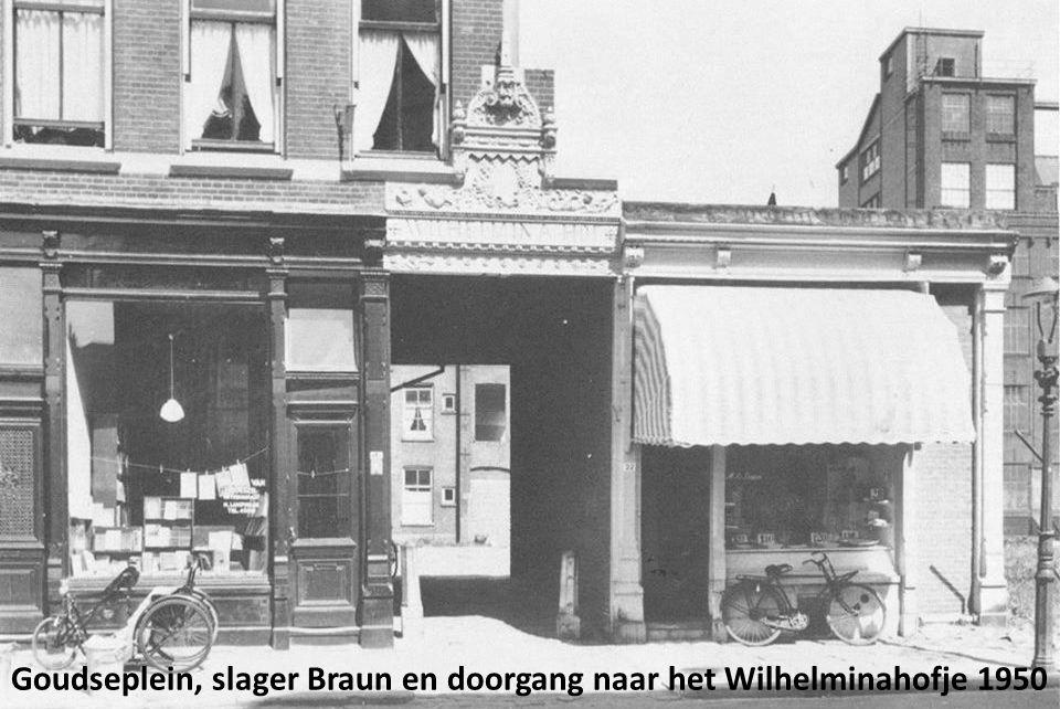 Goudseplein, slager Braun en doorgang naar het Wilhelminahofje 1950
