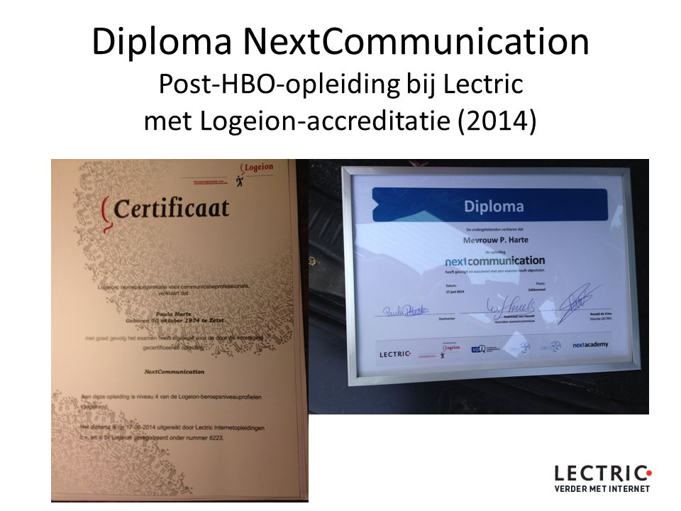 Diploma NextCommunication Post-HBO-opleiding bij Lectric met Logeion-accreditatie (2014)