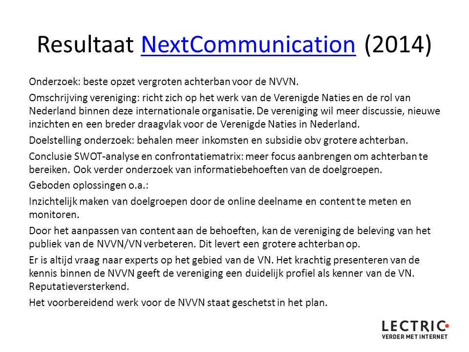 Resultaat NextCommunication (2014)