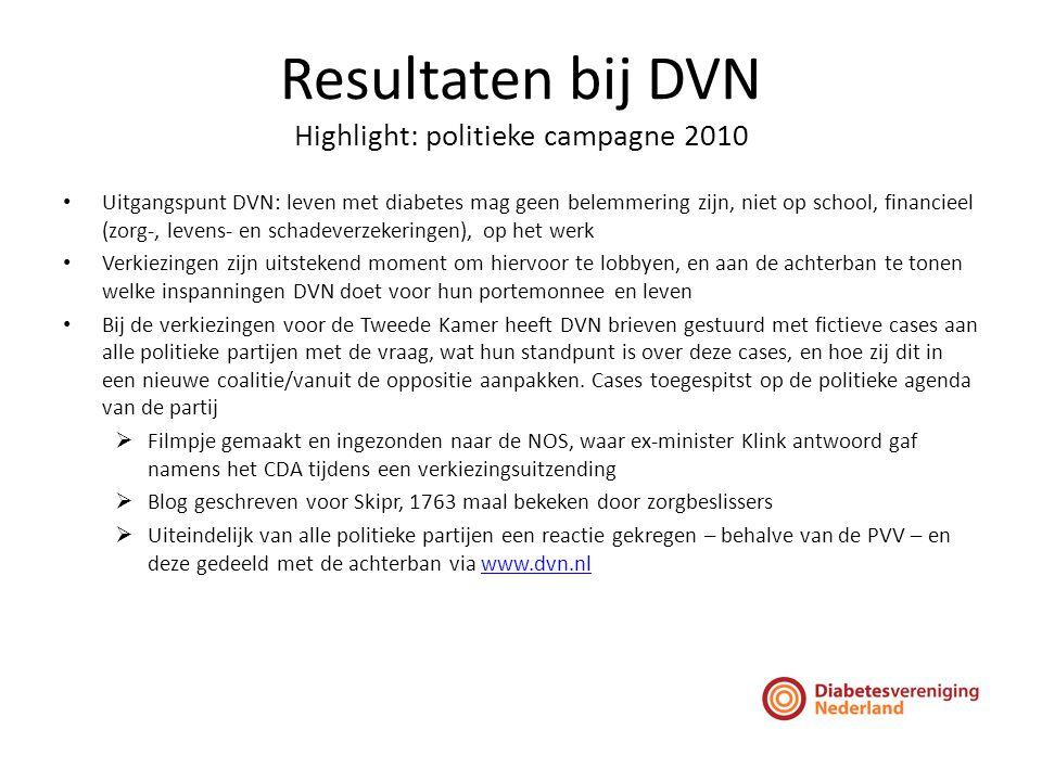 Resultaten bij DVN Highlight: politieke campagne 2010