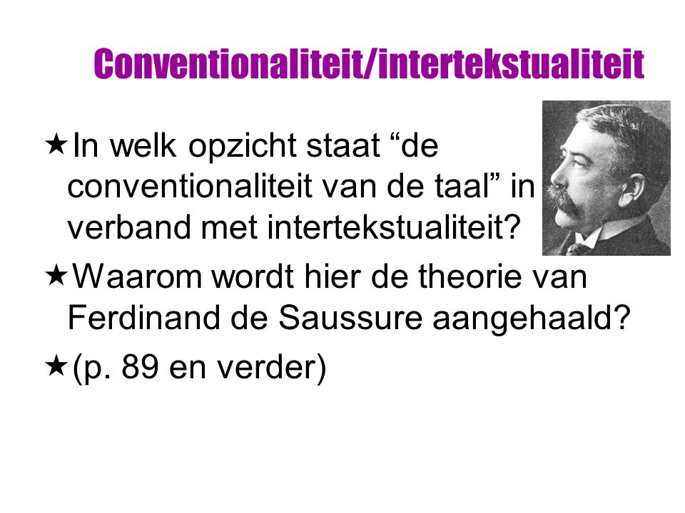 Conventionaliteit/intertekstualiteit