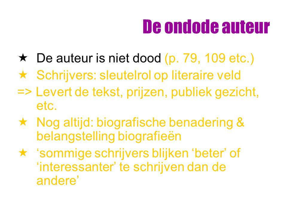 De ondode auteur De auteur is niet dood (p. 79, 109 etc.)