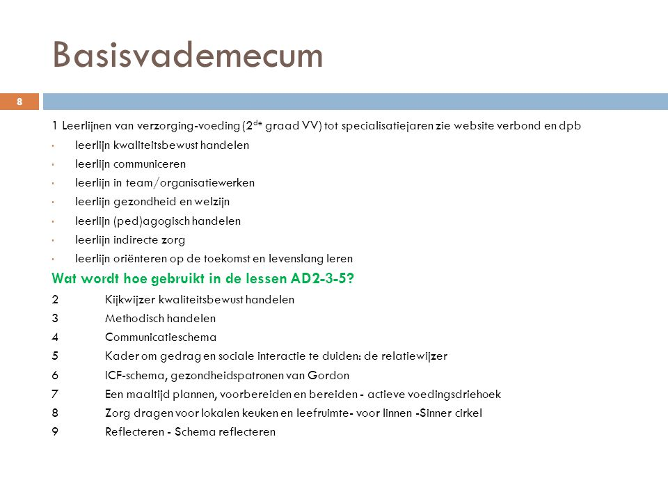 Basisvademecum Wat wordt hoe gebruikt in de lessen AD2-3-5