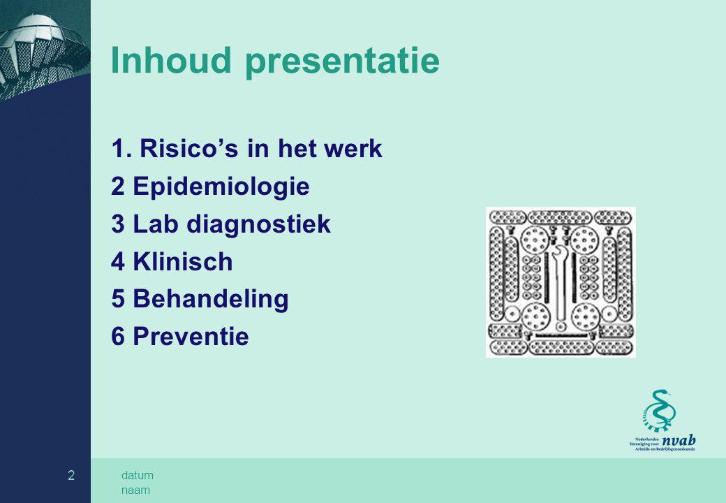 Inhoud presentatie 1. Risico's in het werk 2 Epidemiologie