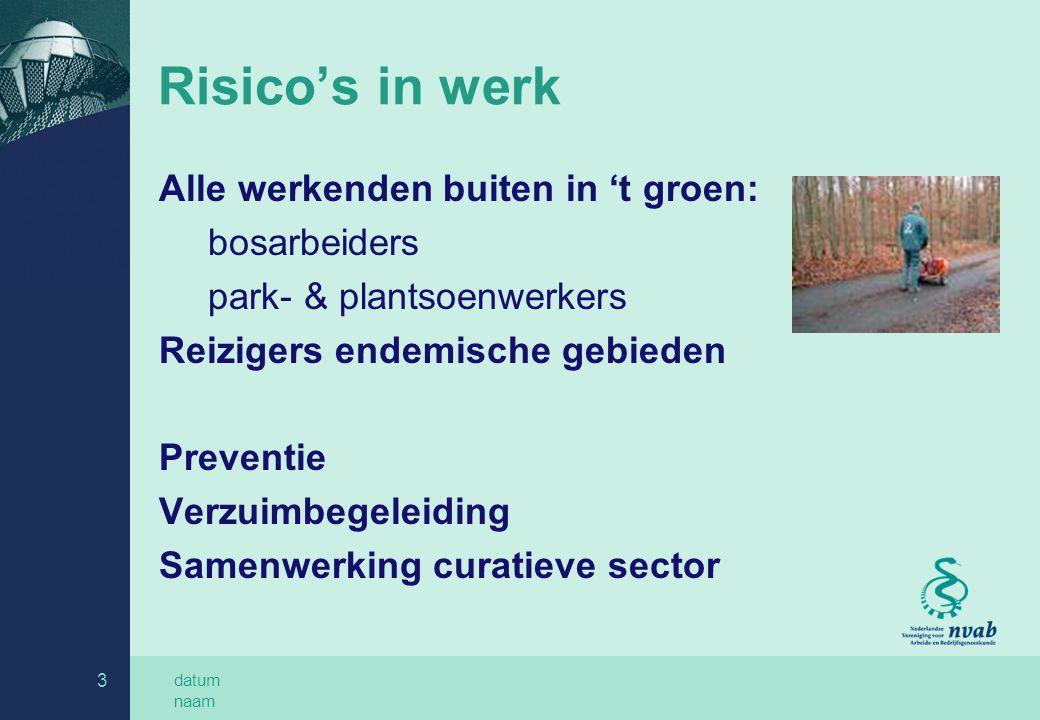 Risico's in werk Alle werkenden buiten in 't groen: bosarbeiders