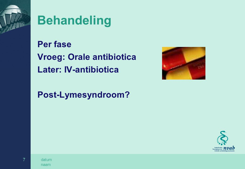 Behandeling Per fase Vroeg: Orale antibiotica Later: IV-antibiotica
