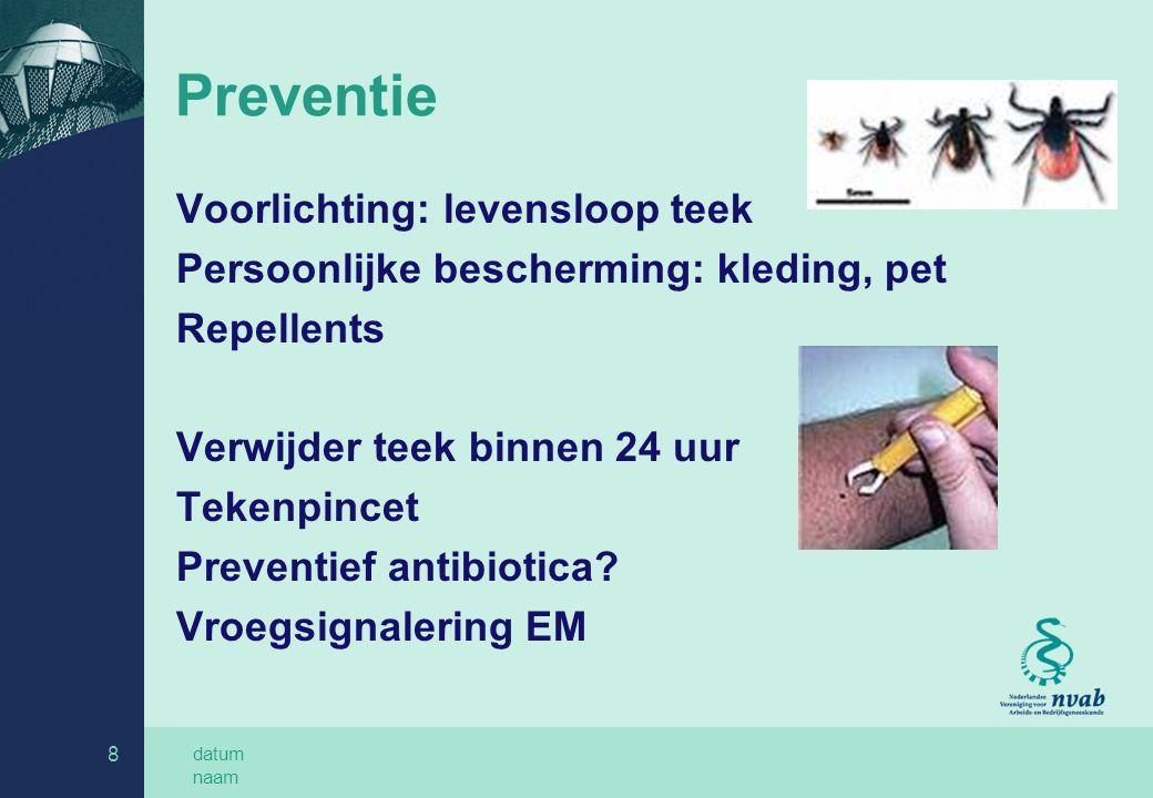 Preventie Voorlichting: levensloop teek