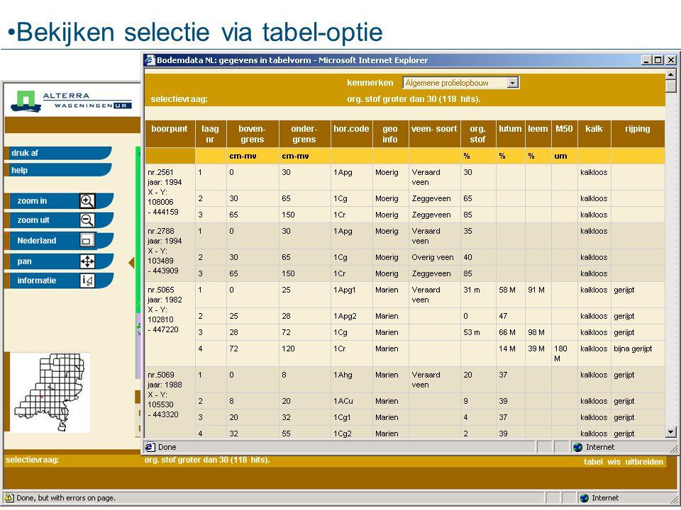 Bekijken selectie via tabel-optie