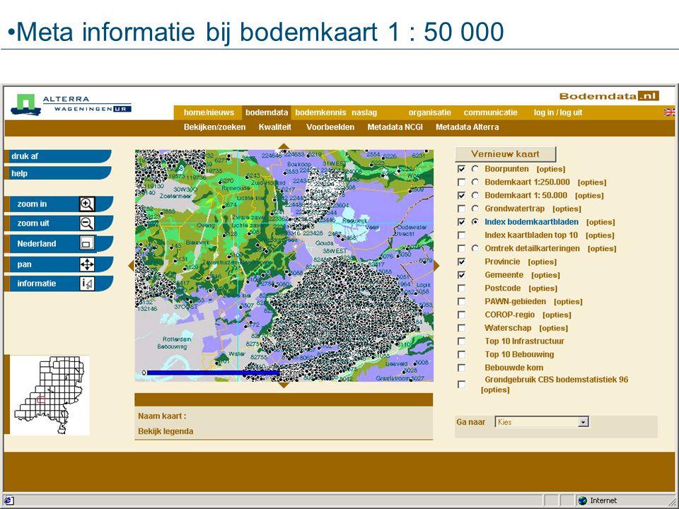Meta informatie bij bodemkaart 1 : 50 000