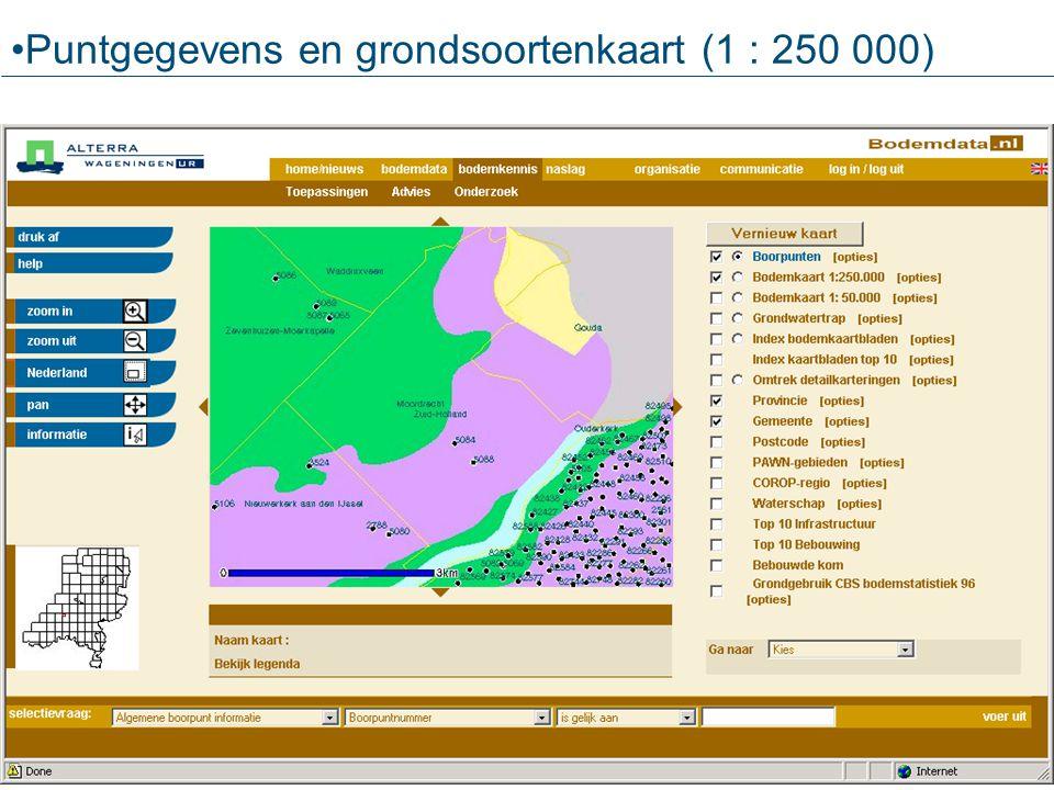 Puntgegevens en grondsoortenkaart (1 : 250 000)