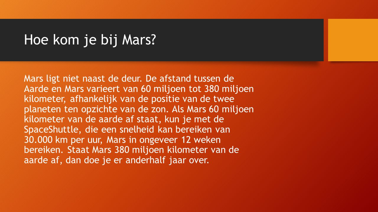 Hoe kom je bij Mars