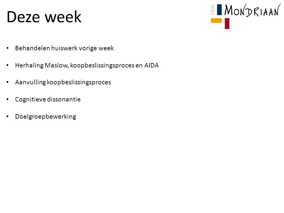 Deze week Behandelen huiswerk vorige week