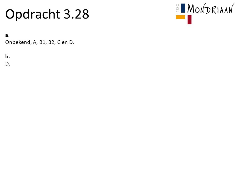 Opdracht 3.28 a. Onbekend, A, B1, B2, C en D. b. D.