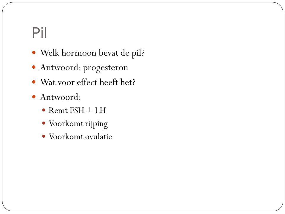 Pil Welk hormoon bevat de pil Antwoord: progesteron
