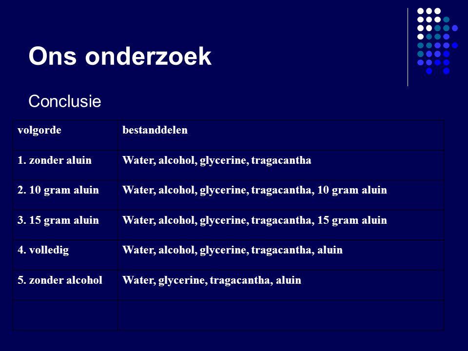 Ons onderzoek Conclusie volgorde bestanddelen 1. zonder aluin