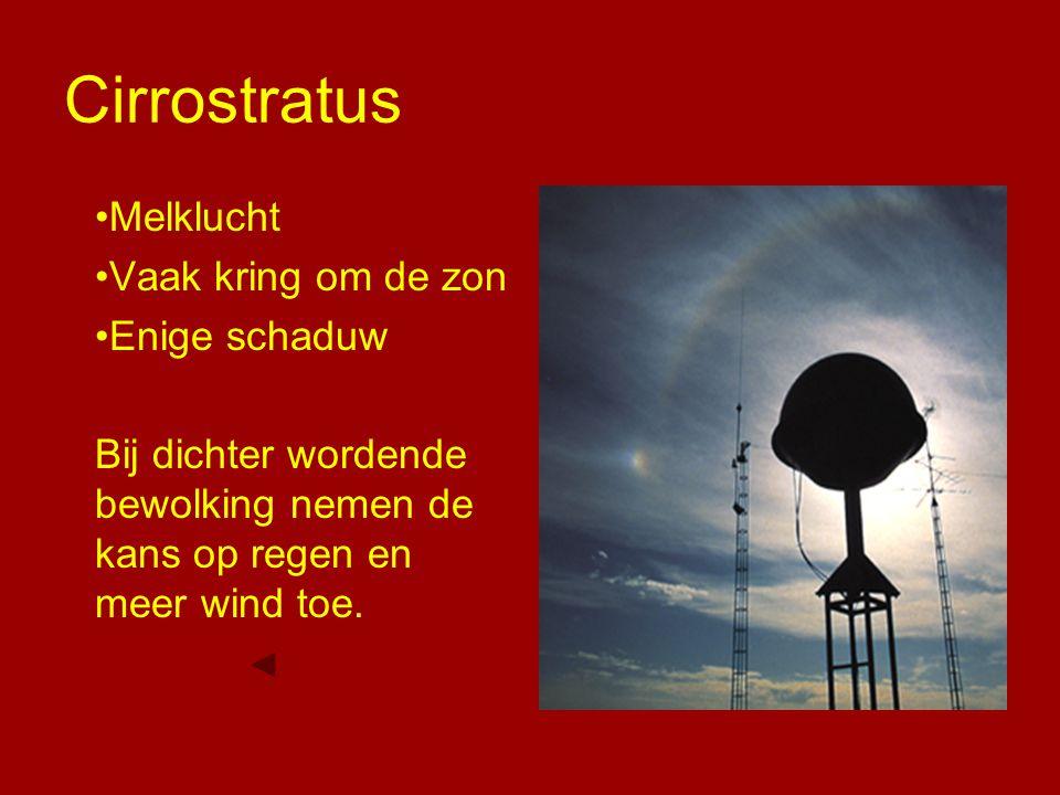 Cirrostratus Melklucht Vaak kring om de zon Enige schaduw
