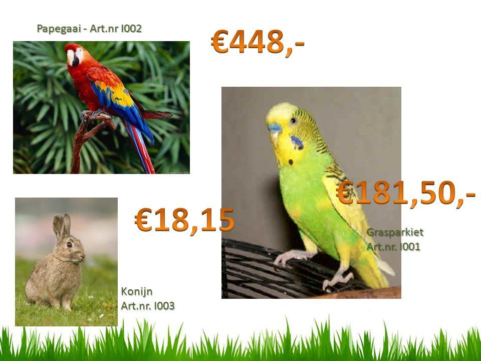 €448,- €181,50,- €18,15 Papegaai - Art.nr I002 Grasparkiet