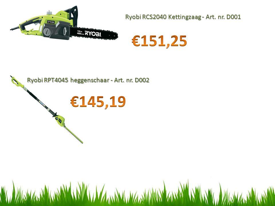 €151,25 €145,19 Ryobi RCS2040 Kettingzaag - Art. nr. D001