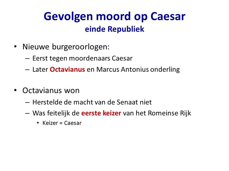 Gevolgen moord op Caesar einde Republiek