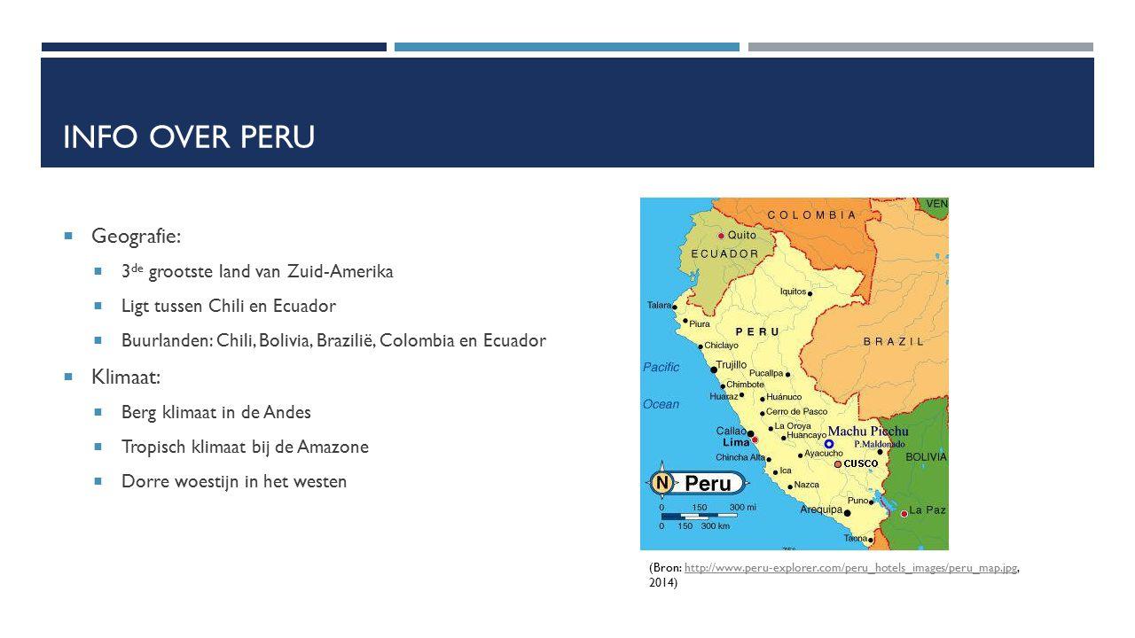 Info over peru Geografie: Klimaat: 3de grootste land van Zuid-Amerika