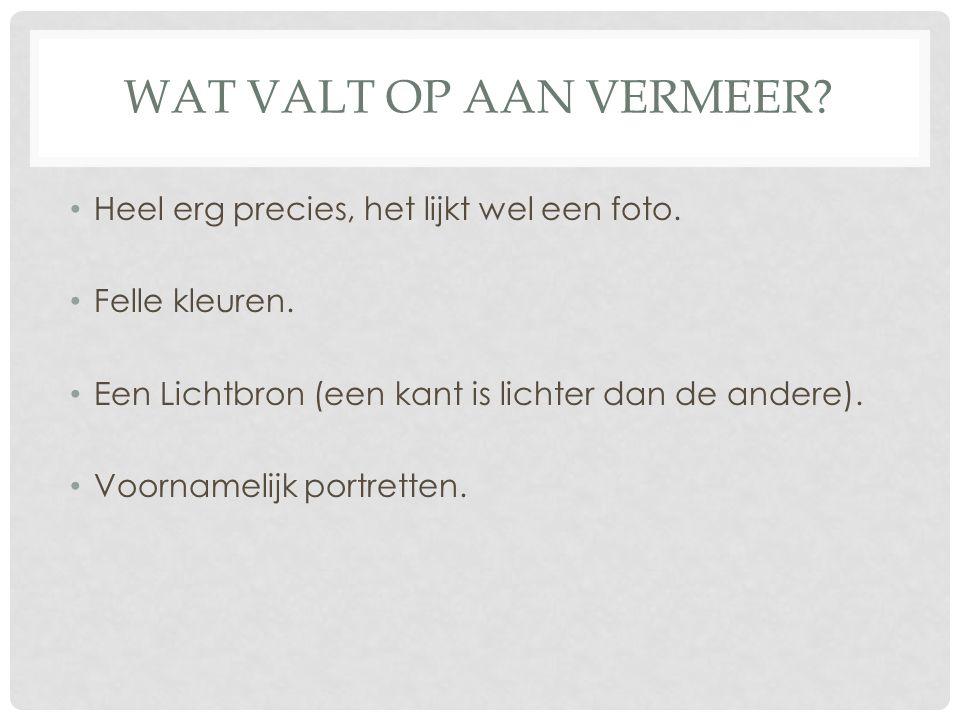 Wat valt op aan Vermeer Heel erg precies, het lijkt wel een foto.
