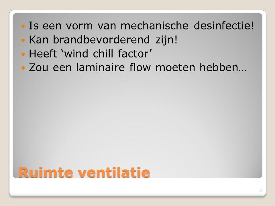 Ruimte ventilatie Is een vorm van mechanische desinfectie!