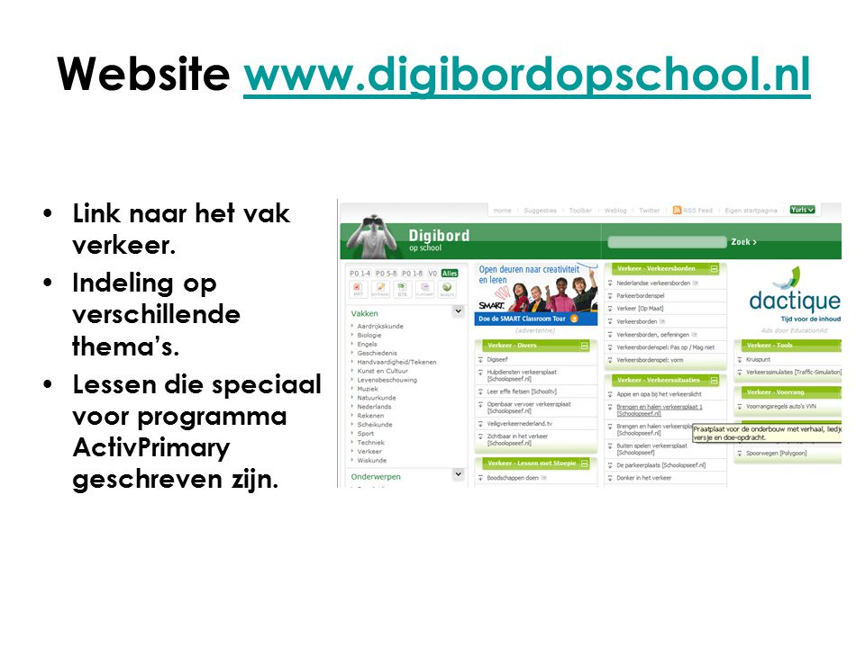 Website www.digibordopschool.nl
