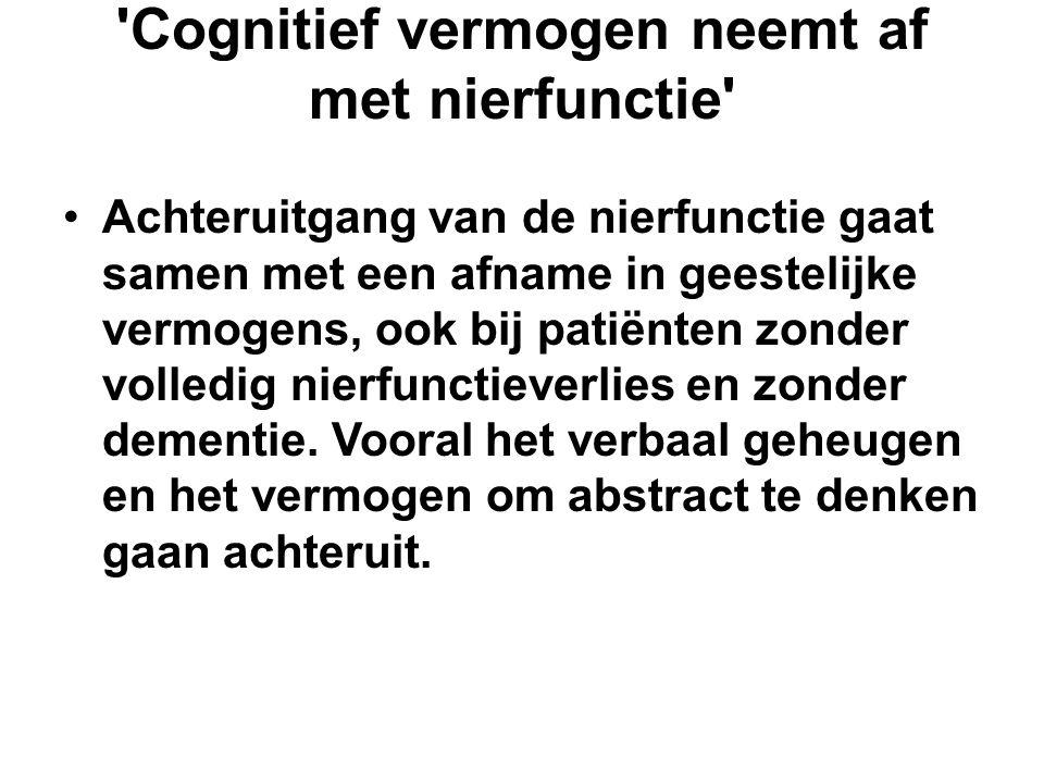 Cognitief vermogen neemt af met nierfunctie